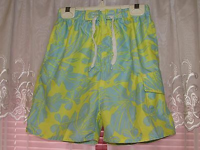 Boys blue and yellow Castaways tropical swimming trunk shorts size 7 very Nice!
