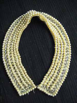 "Vtg 60s Silver/Faux Pearl Beaded Collar- 15.25"" circumference"