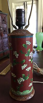 Vintage Chinese Cloisonne Table Lamp Carved Wood Base And Top
