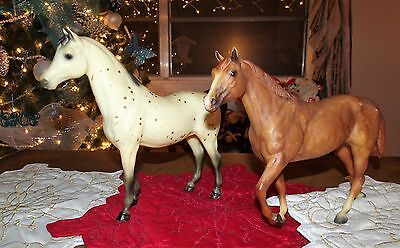 Bryer Lot Of 2 Large Traditional Vintage Horses, Early 1990's
