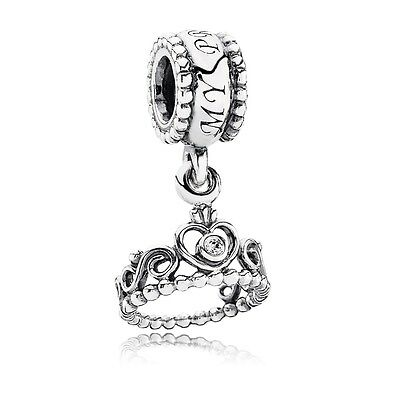 New Authentic Pandora Silver 791117CZ My Princess Clear Dangle Charm Bead