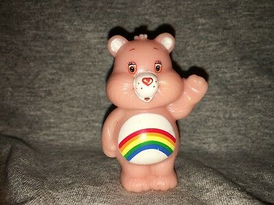 Vintage TCFC Cheer Bear RAINBOW Pink Care Bear PVC Figure Cake Topper 2.5""