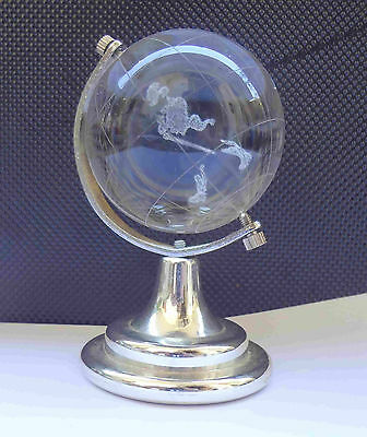 Collectible JOHNNIE WALKER Solid Glass Miniature Globe Paperweight II #