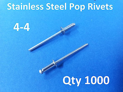 "1000 POP RIVETS STAINLESS STEEL BLIND DOME 4-4 3.2mm x 9.5mm 1/8"" RIVET"
