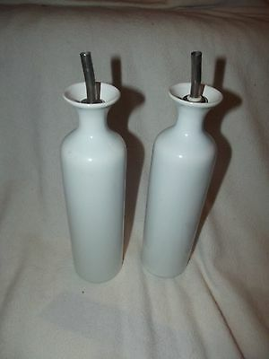 "Pair Of Olive Oil And Vinegar Drizzler Bottles White - 9.5"" tall"