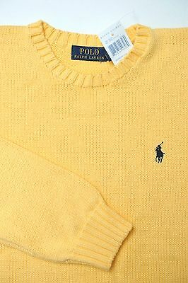 NWT Polo Ralph Lauren Mens Crewneck Bright Yellow 100% Cotton Sweater Size Large
