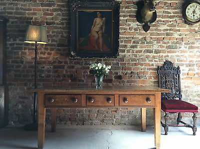 Stunning Antique Dining Table Solid Oak Victorian 19th Century Kitchen Rustic