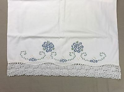Vintage Embroidered Pillowcase Lace & Embroidery Hand Stitched Blue Flowers