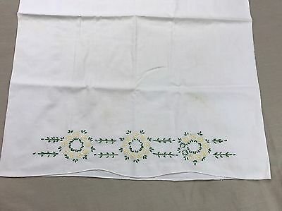 Vintage Pillowcase Simple White Scallop w Embroidery Yellow Flowers Embroidered