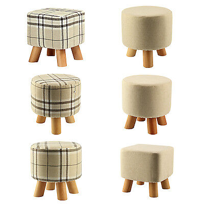 Modern Luxury Upholstered Footstool Round Pouffe Stool + Wooden Leg F6