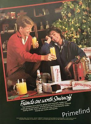 1987 Friends are Worth SMIRNOFF VODKA Holidays Time of Sharing PRINT AD