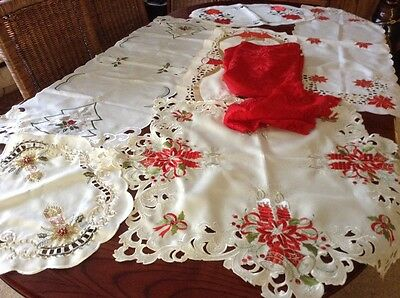 Bulk Embroidered Xmas Table Runners,round Table Cloth ,etc Used .