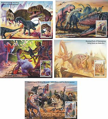 Prehistoric Life Dinosaurs  5 S/sheets Mnh Imperforated