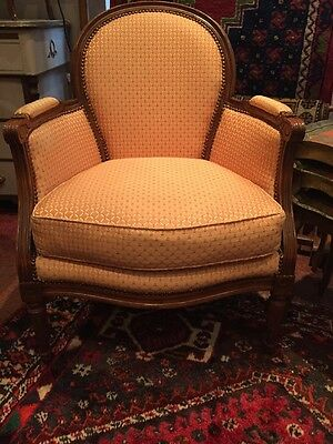 Vintage French Carved  Louis XV Style Upholstered Walnut Armchair Chair