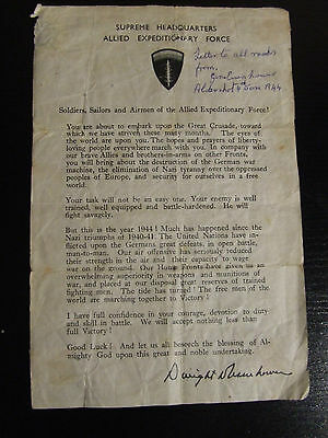 Rare Original WW2 SHAEF Dwight D Eisenhower D-Day Message to the Troops