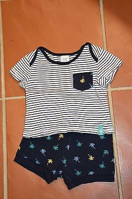 Target-6-12 Month Baby Boy Summer Pj's, Navy Palm Trees On Shorts
