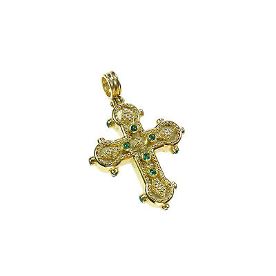 Byzantine Handmade Cross 22k Solid Gold Emeralds