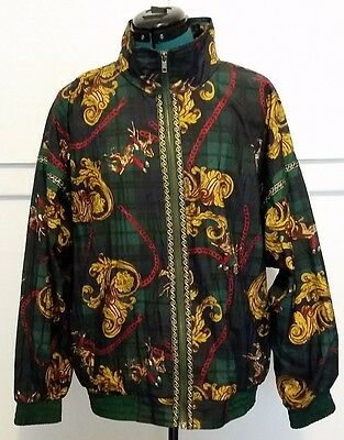 Vintage Sports Accent horse riding versace design windbreaker jacket size L