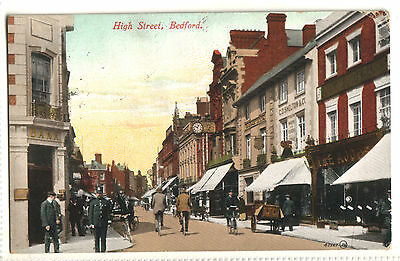 Old Postcard High Street, Bedford, 1912, Bicycles Cart Shops Signs, Sheldon & Co