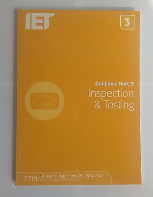 IET Guidance Note 3 Inspection Testing 7e Institution 9781849198738 BS 7671