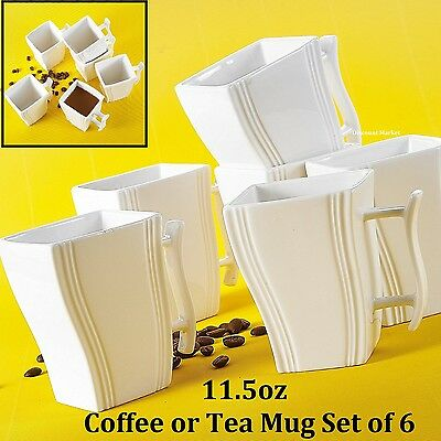 Coffee Mugs Sets 6pc Porcelain Tea Set For Adults White 11.5 OZ Cup Modern Cups