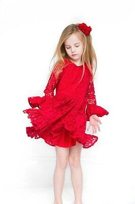 New Girls Red Lace Dress Summer Princess Wedding Party Skirt UK Seller 2-5 Years