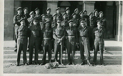 1950s Postcard Detachment of soldiers with dog mascot