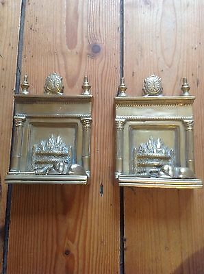 Pair of Brass Book Ends, Fireplace Design with Sleeping Dog