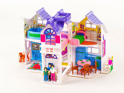 Dollhouse Set Beauty Home 6 Rooms Furniture Girls Toy House KP9142