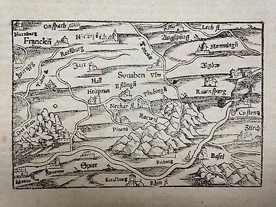Souabe Germany Switzerland 1556 Cosmographie Munster Original Wood Engraved Map