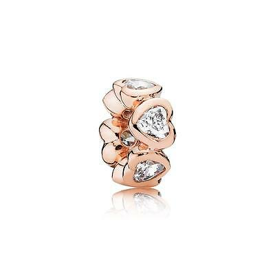 New Authentic Pandora Silver 781252CZ Rose Gold Space In My Heart Charm Bead