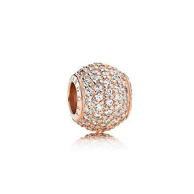 New Authentic Pandora Silver 781051CZ Rose Gold Pave Lights Charm Bead