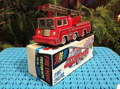 Vintage China SFTF Tin Fire Engine Friction Toy With Siren MF 183 Boxed Rare!!!