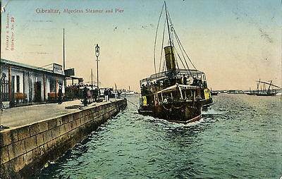 1910 Postcard Paddle Steamer from Algeciras arriving GIBRALTAR
