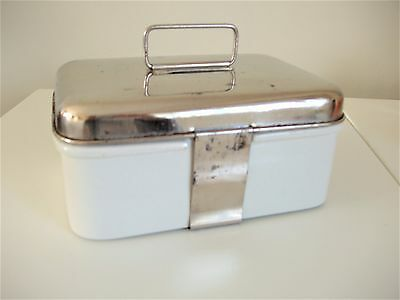 Vintage 1930's Picnic Brexton Luncheon Box White Ceramic Chrome Sandwich Camper