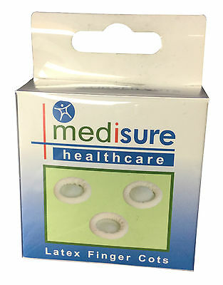 Medisure Latex Finger Cots - 1, 2, 3 or 4 Boxes of 12 Assorted - Fingertips Bobs