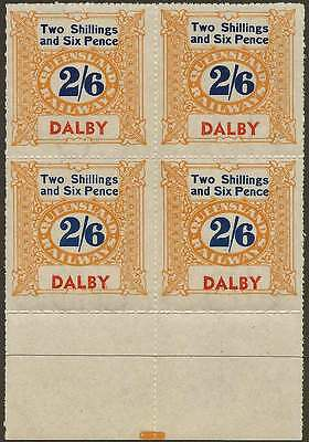 QUEENSLAND 1927-66 RAILWAYS 2/6 Yellow inscribe DALBY station NHM Block of 6