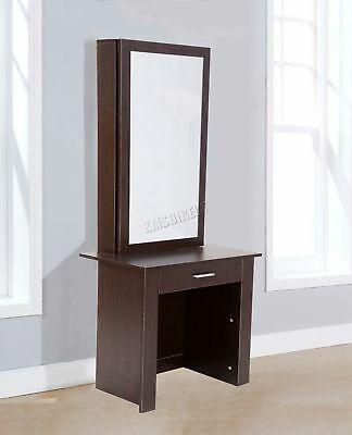 FoxHunter Wooden Makeup Jewelry Dressing Table With Sliding Mirror DT04 Walnut