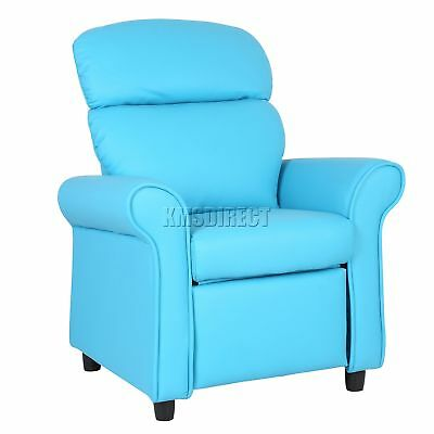 FoxHunter Kids Recliner Armchair Games Chair Sofa Seat PU Leather KSP01 Blue New