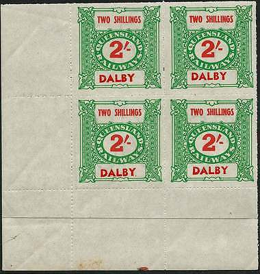 QUEENSLAND 1927-66 RAILWAYS 2/- Green inscribed DALBY station NHM Block of 4