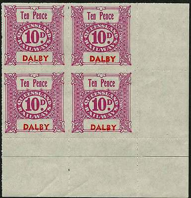 QUEENSLAND 1927-66 RAILWAYS 10d Mauve inscribed DALBY station NHM Block of 4