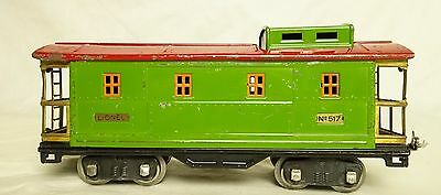 Lionel Pre-War #517 Lt. Green And Red Caboose With Orange Window Inserts-Nice!
