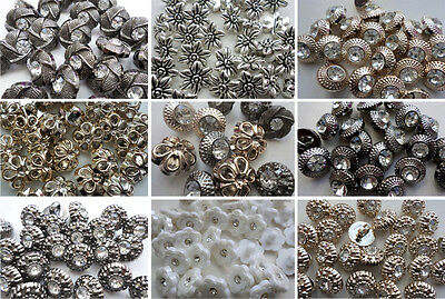 25 Chic Vintage Style Flower Diamante Shank Buttons Sewing Knitting Crafts