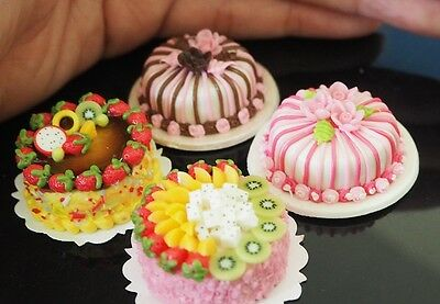 Set Of 4 Beautiful Cakes Dollhouse Miniatures Food Supply Deco Handmade Clay