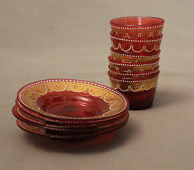 19th Century Cranberry Glass Bohemian Bowls and Saucers