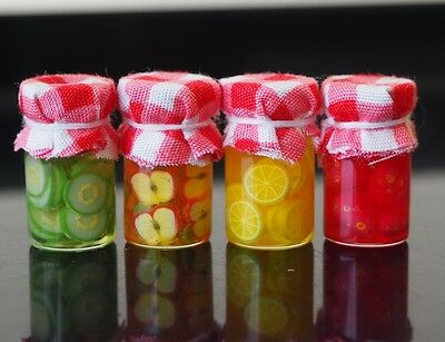 Dollhouse Miniatures 4 Glass Jars of Mixed Fruits Food Supply Handmade 1:12