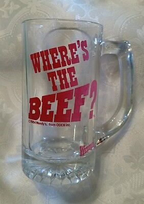"Wendy's 1984 logo ""Where's the Beef?""12 Oz Clear Glass Drinking  Mug advertising"