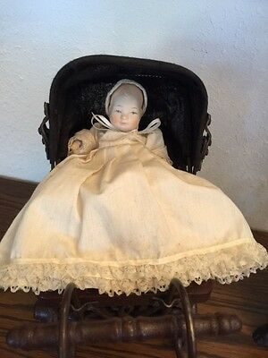 Vintage Victorian Ornate Wicker Baby Doll Stroller Carriage Buggy Comes W/doll