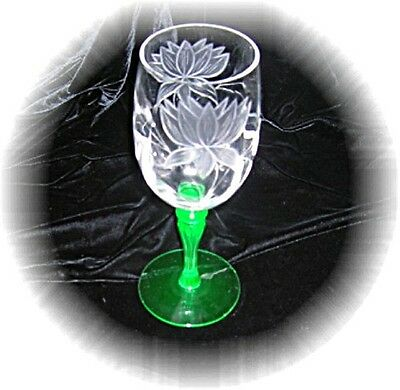 "Gorgeous Tiffin Etched ""lotus"" Goblets With Nile Green Stem. Must L@@k"