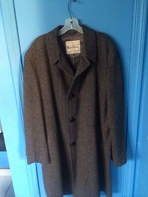 VTG 50s HARRIS TWEED  Gray Herringbone Pure Scottish Wool Coat Overcoat Sz 48